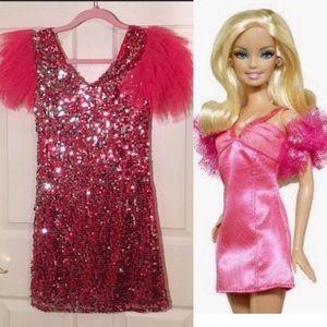 Vintage 1980's Hot pink sequin Barbie dress